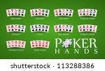 poker hand rankings symbol set | Shutterstock .eps vector #113288386