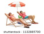 tourists lying in deck chairs... | Shutterstock . vector #1132885700