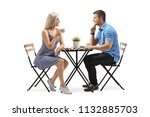 young woman and a young man... | Shutterstock . vector #1132885703