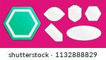 set of white paper stickers... | Shutterstock .eps vector #1132888829