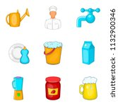 kitchenware icons set. cartoon... | Shutterstock . vector #1132900346