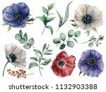 watercolor eucalyptus and... | Shutterstock . vector #1132903388