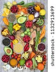 health food concept with fruit  ... | Shutterstock . vector #1132913699