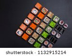 japanese sushi rolls in the... | Shutterstock . vector #1132915214