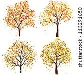 Set Of Four Autumn Tree. Vecto...