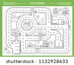 children coloring with city... | Shutterstock .eps vector #1132928633