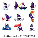 vector cute eggplant smile... | Shutterstock .eps vector #1132930913