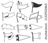 set of 12 pennants. retro... | Shutterstock .eps vector #1132932863