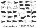 Set Of Textured Pennants. Retro ...