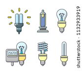 bulb icon set. cartoon set of... | Shutterstock . vector #1132933919