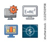 monitor lcd icon set. cartoon... | Shutterstock . vector #1132933958