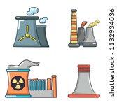 power plant icon set. cartoon... | Shutterstock . vector #1132934036