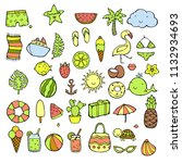 hand drawn summer icons set.... | Shutterstock .eps vector #1132934693