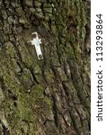 cross on a mossy tree trunk in the forest - stock photo
