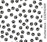 paw print seamless. vector... | Shutterstock .eps vector #1132942409
