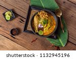 khao soi recipe  curried noodle ... | Shutterstock . vector #1132945196