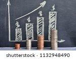 money coins saving set growing... | Shutterstock . vector #1132948490