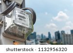 electric meters on the urban...   Shutterstock . vector #1132956320