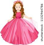 illustration of cute  princess  | Shutterstock .eps vector #1132964786