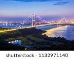 Beautiful night view of Jiangyin Yangtze River Bridge, Jiangsu, China