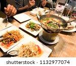 spicy food  papaya salad  spicy ... | Shutterstock . vector #1132977074