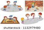 set of children playing... | Shutterstock .eps vector #1132979480