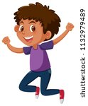 young tanned boy jumping... | Shutterstock .eps vector #1132979489