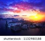 hong kong cityscape in magic... | Shutterstock . vector #1132980188