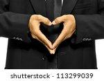 Business Man Make Heart Shape...