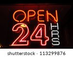 neon shining signboard with... | Shutterstock . vector #113299876