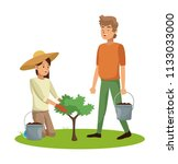 people and gardening | Shutterstock .eps vector #1133033000