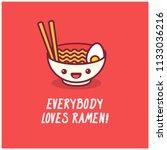 everybody loves ramen pun... | Shutterstock .eps vector #1133036216