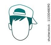 man faceless cartoon blue lines   Shutterstock .eps vector #1133048090