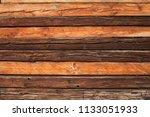 variable rustic wooden log wall ... | Shutterstock . vector #1133051933