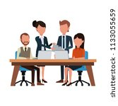 business teamwork with laptop | Shutterstock .eps vector #1133055659