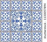 majolica pottery tile  blue and ... | Shutterstock .eps vector #1133057894