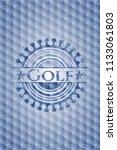 golf blue hexagon emblem. | Shutterstock .eps vector #1133061803