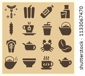 set of 16 food filled icons... | Shutterstock . vector #1133067470