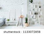 spacious stylish white loft...   Shutterstock . vector #1133072858