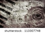 abstract grunge rose and piano  ... | Shutterstock . vector #113307748