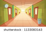 vector cartoon school hallway... | Shutterstock .eps vector #1133083163