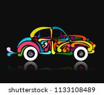 retro car  abstract painted... | Shutterstock .eps vector #1133108489