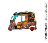 tuktuk  motorbike asian taxi.... | Shutterstock .eps vector #1133108660