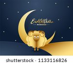 golden sheep with crescent moon ... | Shutterstock .eps vector #1133116826