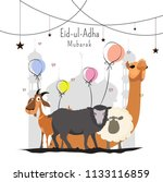 eid ul adha mubarak greeting...   Shutterstock .eps vector #1133116859