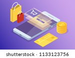 online banking and shoping ... | Shutterstock .eps vector #1133123756