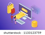 online banking and shoping ... | Shutterstock .eps vector #1133123759