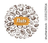 eating nut label. hand drawn... | Shutterstock .eps vector #1133125016