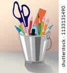 stationery in pencil holder ...   Shutterstock .eps vector #1133131490