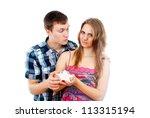 guy gave the girl a star | Shutterstock . vector #113315194